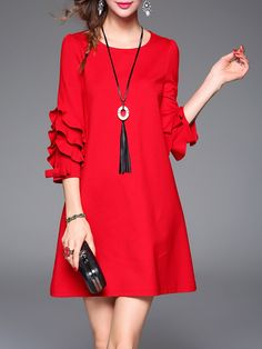 Red 3/4 Sleeve Crew Neck Plain Mini Dress