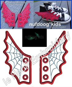 4x4 5x7 SPIDER WEB Shoe Wings Machine Embroidery In Hoop Design Goth Costume Super Hero Steampunk Fantasy Movie Spiderman inspired
