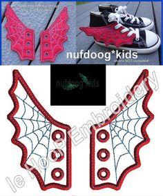 4x4 5x7 SPIDER WEB Shoe Wings Machine Embroidery In Hoop Design Goth Costume Super Hero Steampunk Fantasy Movie Spiderman inspired