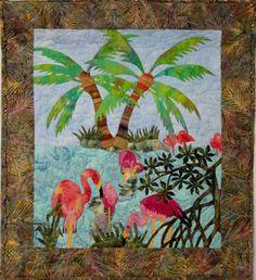 Isle of Flamingos Quilt Pattern FID-751 (advanced beginner, wall hanging)
