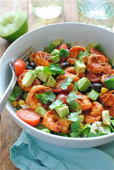 Mix everything good in to one bowl and you will get this Chipotle Shrimp Salad Burrito Bowl