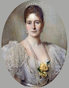 Alix of Hesse, and by Rhine, later Alexandra Feodorovna Romanova (6 June 1872—17 July 1918), was Empress consort of Russia as spouse of Nicholas II, last Emperor of the Russian Empire. Granddaughter to Queen Victoria of the UK, she was named Alexandra Feodorovna upon being received into the Russian Orthodox Church, which canonized her as a saint in 2000. She is best remembered as the last Tsarina of Russia, and as a famous royal carrier of the haemophilia disease. Artist unknown.