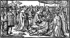 Pope Joan publicly giving birth during a street procession. Note the jester behind the column mocking the event. Woodcut engraving by Giovanni Boccaccio. Now in British Museum. circa 1353.