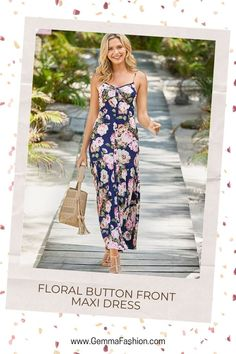 💥 FLORAL BUTTON FRONT MAXI DRESS Say hello to your new everyday dress. Your wardrobe will thank you. #Fashion #casualdress #outfit #womenswear #womensclothing #clothing #clothes #shoppingonline #chic #apparel #shopping #dresstoimpress