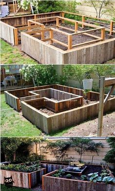 Rustic and textured effect has been all conceptually used out in this pallet raised garden design. Thus, this image shows you out with the wonderful coverage of the pallet raised garden creation that would force you to make this project as part of yo. Diy Pallet Projects, Garden Projects, Pallet Ideas, Pallet Designs, Bed Designs, Pallet Crafts, Wood Ideas, House Projects, Wood Projects