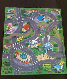 New Childs Childrens Car Funky Town Road Playmat + 3 Toy Cars Felt Safe  Play Mat