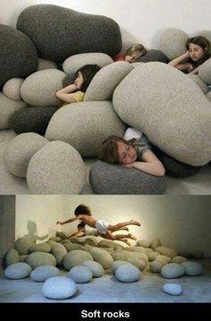 Soft rocks! (Crash pads for sensory fun.)