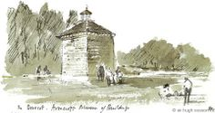 The Dovecote - Avoncroft Museum of Buildings, by Sir Hugh Casson. Watercolour. www.sirhughcasson.com Prints available in the shop at Avoncroft Museum (avoncroft.org.uk)