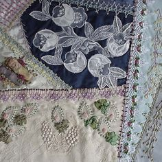 I know this is technically a crazy quilt. But the use of lace and embroidery is beautiful. Crazy Quilt Stitches, Crazy Quilt Blocks, Crazy Quilting, Quilting Ideas, Wedding Dress Quilt, Crazy Patchwork, Textile Fiber Art, Panel Quilts, Quilt Stitching