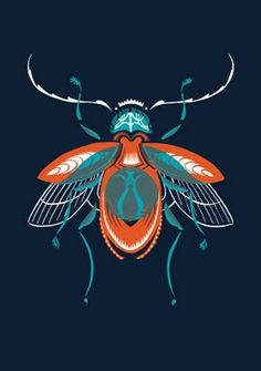Love this beautiful insect print on Art Finder.  Beautiful use of hague blue and burnt orange.
