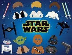 Star Wars Digital Photo Booth Props, Digital Star Wars Photobooth Props, Darth Vader, Luke Skywalker, Han Solo, Princess Leia, 0263