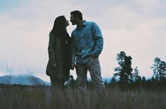 Whitefish, Montana Romantic Engagement Photo in the Field.