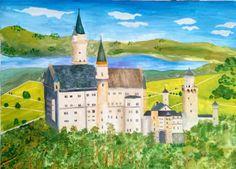 Munich et la Bavière, Louis II et Richard Wagner: Neuschwanstein - Gouache sur papier Gouache, Bavaria, Castle, Germany, Mansions, House Styles, Decor, Paper, Decoration