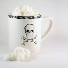 Skull and Crossbones Mug & Sugar Cube Skulls  by dembones on Etsy