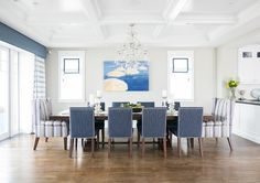California Beach House Design - Dining Room: Adjoining kitchen and dining. Country Dining Rooms, Luxury Dining Room, Dining Room Design, Dining Room Furniture, Dining Chairs, Dining Table, White Laundry Rooms, Minimalist Dining Room, Blue Living Room Decor