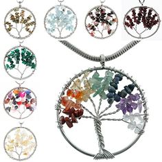 SUNYIK Wire Wrapped Tree of Life Tumbled Stone Beads Pendant *** Read more reviews of the product by visiting the link on the image.