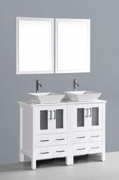 "Contemporary 48"" Double Bathroom Vanity Set with Mirror | Wayfair"