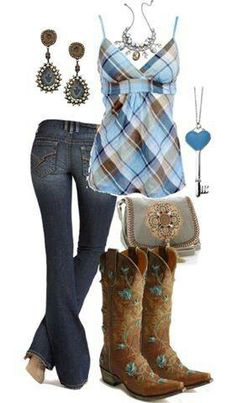 Country cutie, Plaid spaghetti strap top, Jeans, Brown and Blue Cowgirl boots, accessories