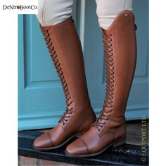 Lace up leather riding boots