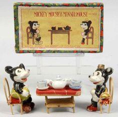 Bisque Disney Mickey & Minnie Mouse Tea Set