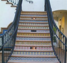 Old Town La Quinta Saltillo tiles on stair risers.