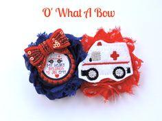 EMT, EMT gifts, EMT baby, Emt Mom, Baby Emt, Ambulance, Ambulance Hair Bow, Ambulance Hair Clip, First Responder Gift, Ems Baby, Ems by OWhatABow on Etsy
