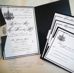Chandelier Black and White Wedding Invitations