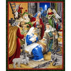 Rejoice 36 In. Metallic Nativity Panel Multi from @fabricdotcom  Designed by Liz Goodrick-Dillon for Quilting Treasures, this cotton print panel is perfect for quilting, apparel and home decor accents. Panel measures approximately 36'' x 44''. Colors include black, red, white, shades of green, shades of blue, shades of brown, shades of grey, and shades of peach with gold metallic accents
