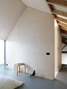redue studio in bleeched beech plywood. Will have to take down that bookcase again. Yay.