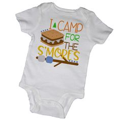 I CAMP For The SMORES Bodysuits, Baby Shower, Camping, Tent, Smores, Camp Fire, Family, Newborn, Toddler, Infant, Children, Party Favor by EmbryLu on Etsy