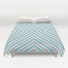 Blue Gray And White Stripes Duvet Cover by KCavender Designs - $99.00 #Duvet #Cover #Bedding #Bedroom #Decor By #KCavenderDesigns