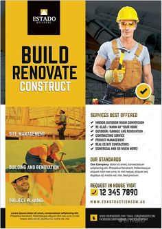 Contractor and Builder Flyer Graphic Design Flyer, Brochure Design, Branding Design, Construction Business, Construction Design, Construction Birthday, Professional Business Card Design, Business Design, Newspaper Layout