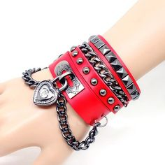 Punk Rivets Women's Multilayer Spiked with Chain by tracyhk, $11.99
