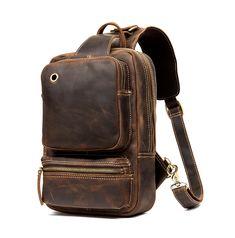 Vintage Leather Sling Backpack for Men - Brown - Chest Bag - Woosir Vintage Leather Backpack, Cow Leather, Leather Bag, Sling Backpack, Sling Bags, Crossbody Shoulder Bag, Vintage Men, Messenger Bag, Coin Purse
