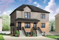 Triplex très économique de style champêtre d'esprit urbain offrant 2 chambres par logement! (no. 2096-V1)   Découvrez les planchers des logements ainsi que des plans similaires ici : http://www.dessinsdrummond.com/detail-plan-de-maison/info/1003002.html  Achetez ce modèle à partir de 1,190$ !  #TriplexUrbain #PlandeTriplex #Triplex2chambres #BuilderPlan #PlandeTriplex #TriplexAbordable http://ow.ly/i/5lCgv