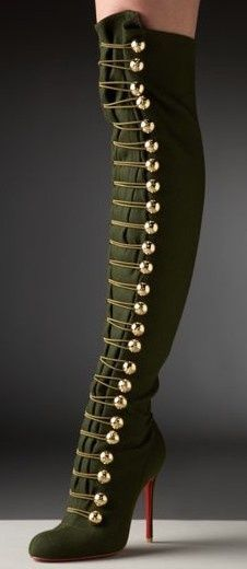 "Christian Louboutin ""Ronfifi"" Olive Green Flannel Over The Knee Boots 