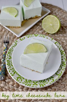 Key Lime Cheesecake Bars. Perfect for St. Patty's Day!