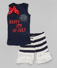 Love this Navy '4th of July' Tank & Ruffle Shorts - Infant, Toddler & Girls on #zulily! #zulilyfinds