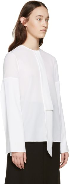 Givenchy: White Silk Necktie Shirt | SSENSE