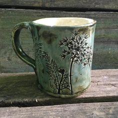Mug. …. … … #mug#ceramics #clay #pottery #slabbuilt #handbuiltceramics #madeinmichigan #queenanneslace