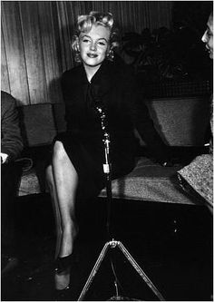 """Marilyn at a press conference for """"Bus Stop"""" at the LA Airport Lounge, February 25th 1956."""