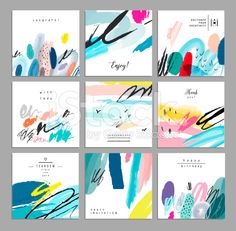 Set of artistic creative universal cards. Hand Drawn textures. royalty-free stock vector art