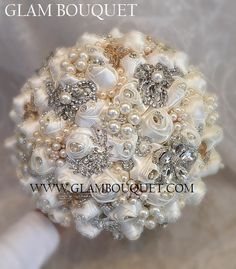 "GATSBY THEMED BROOCH BOUQUET - $499 FULL PRICE IS $499, DEPOSIT TO START $299, BALANCE DUE @ COMPLETION Big Custom 28"" in circumference Bouquet (9"") . All Custom made in Soft pale Ivory satin with a m"