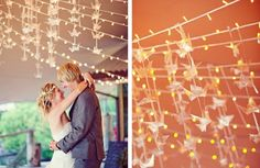 Origami with translucent paper. Beautiful and dresses up plain light garland. I think my Fiancée would love this