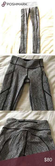 Lululemon side pocket pant Gorgeous grey marled side pocket pants with back zipper and black mesh on rear from mid hamstring to ankle. Worn 2x. Excellent condition lululemon athletica Pants Leggings