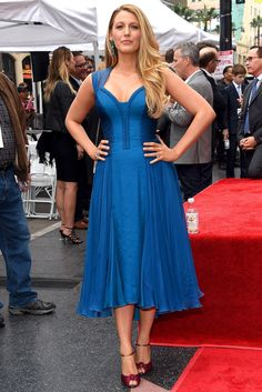 Blake Lively in a blue Atelier Versace midi dress
