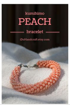 WOW! Japanese kumihimo bracelet found on: ◆ idohandcraft.etsy.com ◆ beaded bracelet seed beaded bracelet peach bracelet serpentine jewelry scales bracelet braid dragon tail magatama