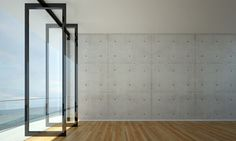 The interior design of concrete wall and sea view