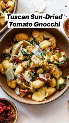 Sausage Recipes, Pasta Recipes, Dinner Recipes, Vegetarian Entrees, Vegetable Entrees, Good Healthy Recipes, Vegan Recipes, Italian Dishes, Gnocchi