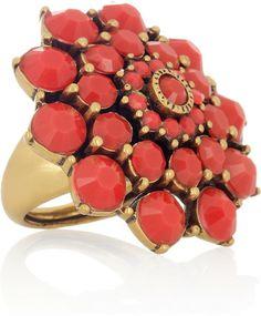 Oscar De La Renta Gold 24karat Goldplated Cabochon Ring